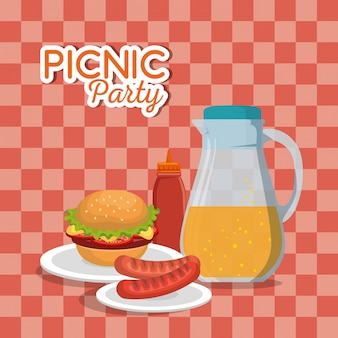 Gesetzte ikonen der picknick-party einladung