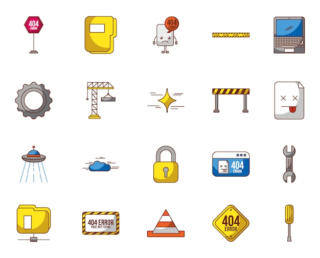 Gesetzte ikonen der webseite im bau