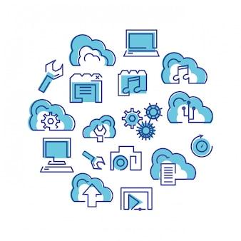 Gesetzte ikonen des cloud-computing-netzwerks