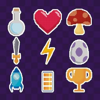 Gesetzte ikonen des klassischen videospiels