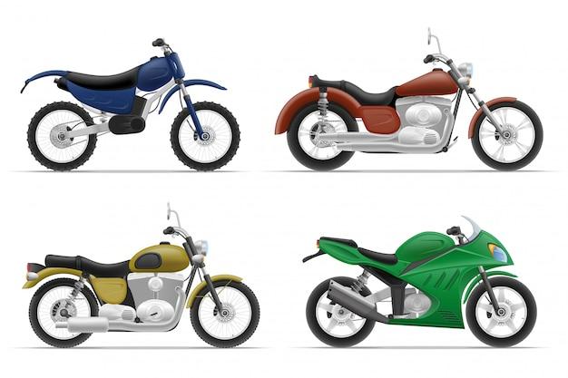 Gesetzte ikonen des motorrades.