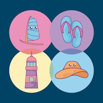 Gesetzte ikonen des sommerferienplakats