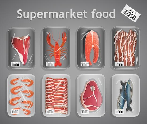 Gesetzte illustration der supermarktfische und -fleisches