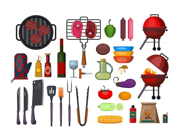 Gesetzte illustration des barbecues