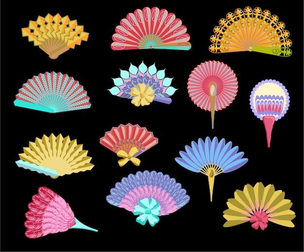 Gesetzte illustration des japanischen traditionellen handfans, weinlesefrauen-papierfans. farbiger handtraditioneller fansatz, faltende malereipapierfächer