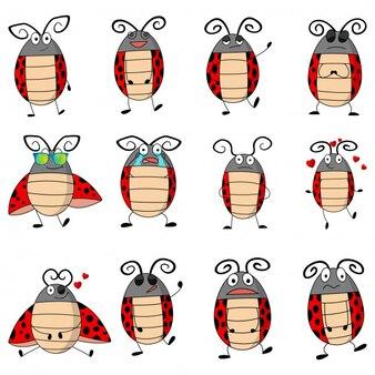 Gesetzte illustration des karikaturmarienkäfers
