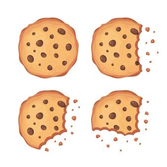 Gesetzte illustration des schokoladensplitterplätzchen-vektors