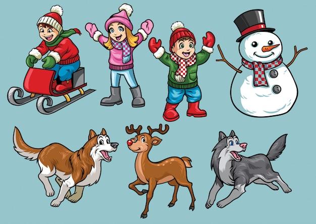 Gesetzte kinder der karikatur in der wintertätigkeit