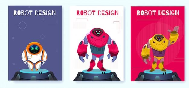 Gesetzte kreative roboter-plakat-design-karikatur der nächsten generation