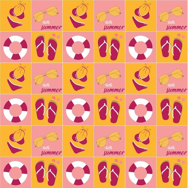 Gesetzte muster der weinlese helles rosa farbsommer-ikone, nahtloser hintergrund