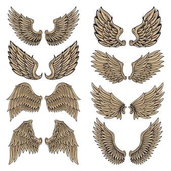Gesetzte retro- flügelengel der bunten weinlese und vögel lokalisierten illustration in der tätowierungsart.