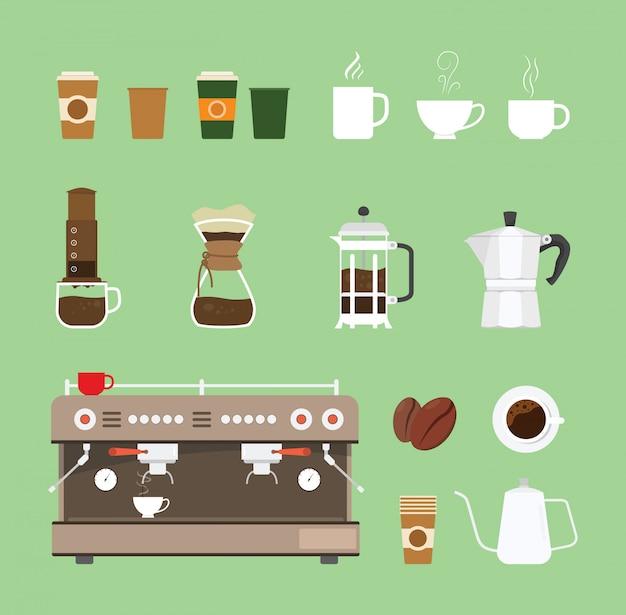 Gesetzte sammlung der kaffeemaschinenwerkzeugausrüstung