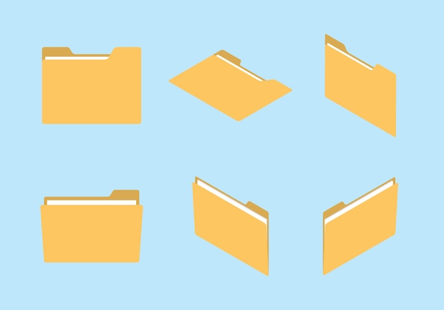 Gesetzte sammlung der ordnerikone mit verschiedener form und isometrischem modernem flachem artkonzept