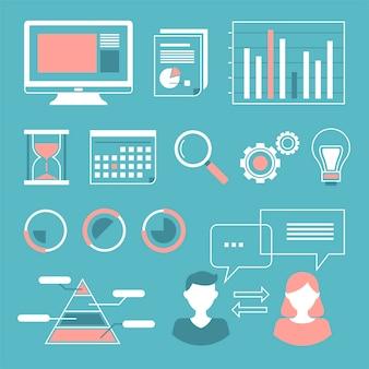 Gesetzte sammlung der web-datenanalyse-zusammenfassungsvektor-illustration