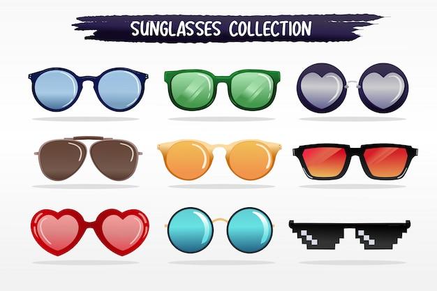 Gesetzte sammlung des sonnenbrillevektors stellte für tropischen sommertag ein