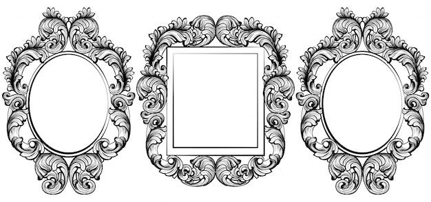 Gesetzte sammlung des weinlesesarocken rahmendekors. detaillierte verzierung vektor-illustration