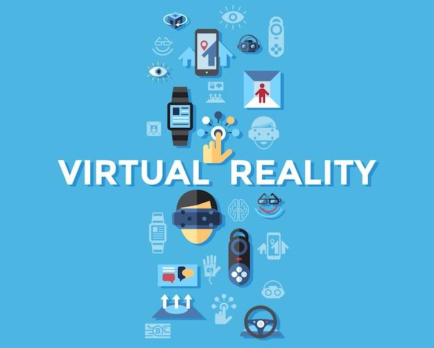 Gesetzte sammlung digitaler virtueller vergrößerter realität des vektors, spiel der nächsten generation