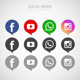 Gesetzte sammlungsvektorillustration der populären social media-ikone