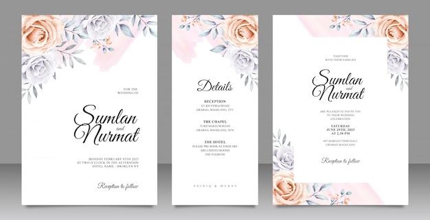 Gesetzte schablone der eleganten hochzeitseinladungskarte mit blumenaquarell