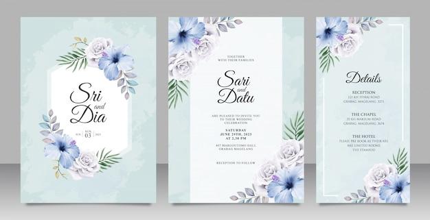 Gesetzte schablone der eleganten hochzeitseinladungskarte mit schönem blumen auf blauem hintergrund