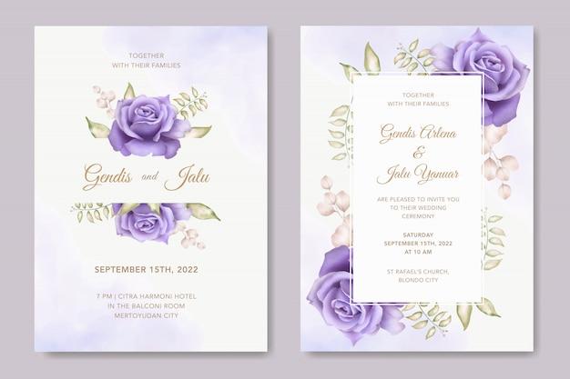 Gesetzte schablone der eleganten hochzeitseinladungskarte mit schönem blumen
