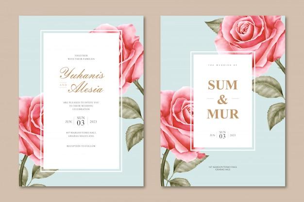 Gesetzte schablone der eleganten hochzeitskarte mit rosafarbener blume