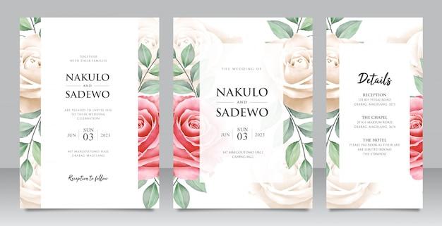 Gesetzte schablone der eleganten hochzeitskarte mit schönen blumen und blättern