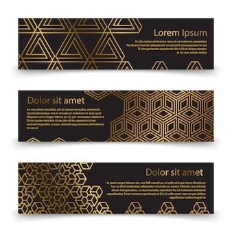 Gesetzte schablone der horizontalen luxusfahne mit goldenen geometrischen formen