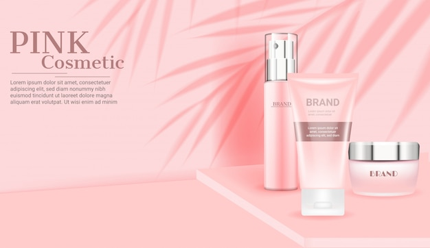 Gesetzte schablone der rosa kosmetischen hautpflege