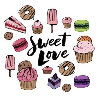 Gesetzte süßigkeiten- und bonbonikonen des vektors.