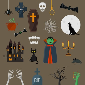Gesetzte vampirscharakter-designkarikaturelemente des dracula-ikonenvektors