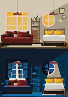 Gesetzte vektor-illustration des schlafzimmers