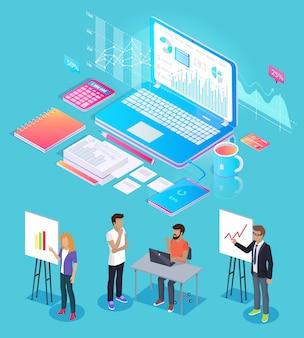 Gesetzte vektor-illustration digital analytics people