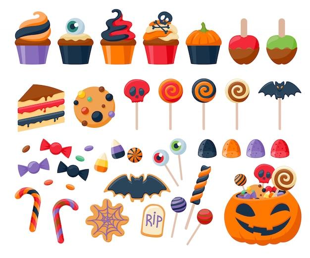 Gesetzte vektorillustration der bunten bonbonikonen der halloween-partei.