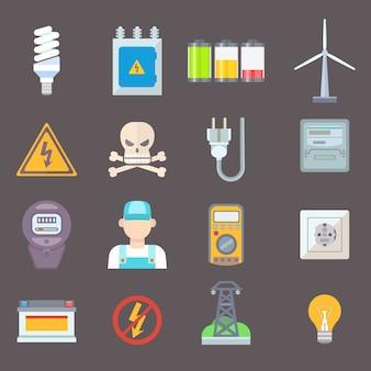 Gesetzte vektorillustration der energie- und ressourcenikone