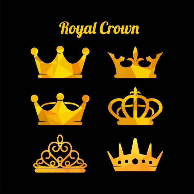 Gesetzte vektorillustration der königlichen krone ikone