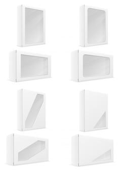Gesetzte vektorillustration der weißbuchkartonkasten-verpackung