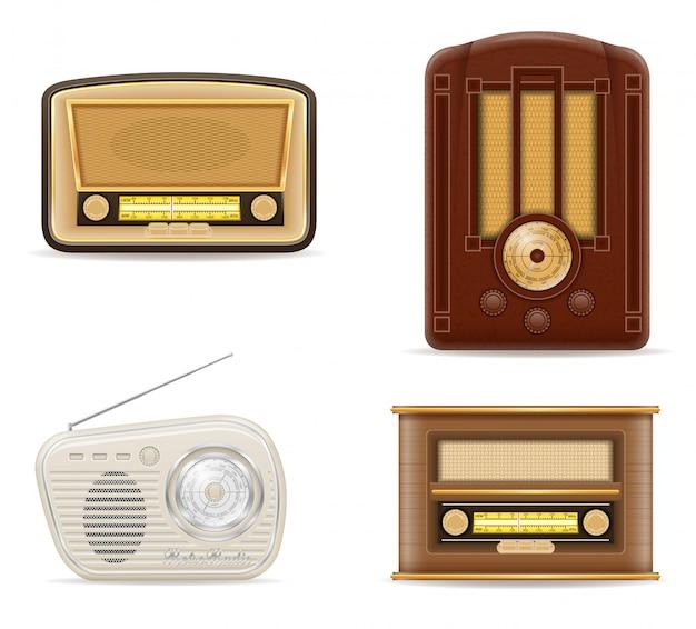 Gesetzte vektorillustration des alten retro- weinleseradios auf lager