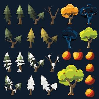 Gesetzte vektorillustration des baums und der frucht