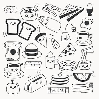 Gesetzte vektorillustration des frühstückslebensmittel-gekritzels