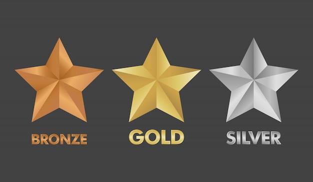 Gesetzte vektorillustration des goldsilber- und bronzesternes