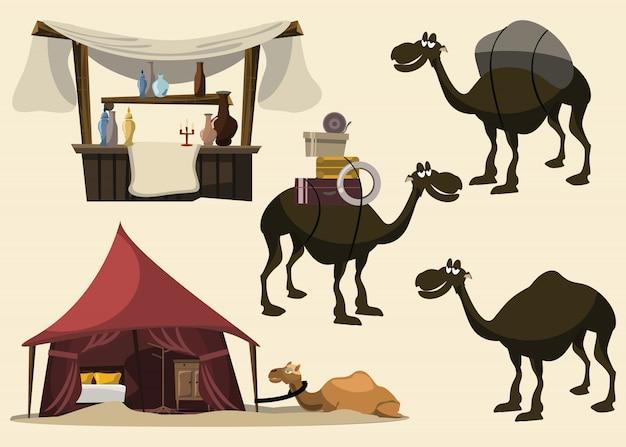Gesetzte vektorillustration des kamels und des arabers