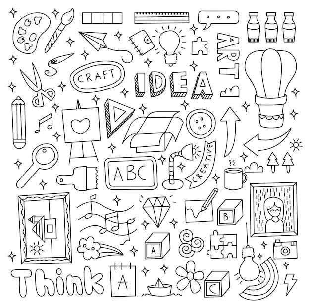 Gesetzte vektorillustration des kreativen ideengekritzels