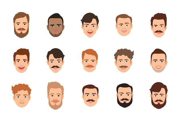 Gesetzte vektorillustration des menschlichen gesichtes. gesichter des männlichen porträts oder des jungen mannes mit verschiedener frisur