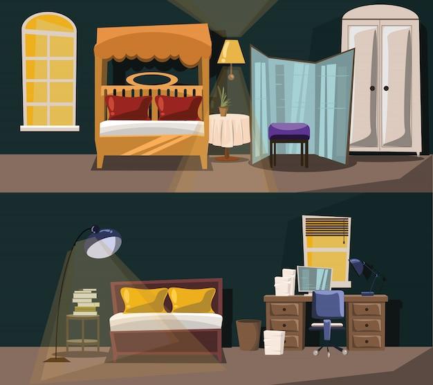 Gesetzte vektorillustration des schlafzimmerinnenraums