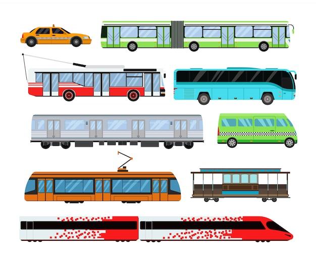 Gesetzte vektorillustration des stadttransportes.