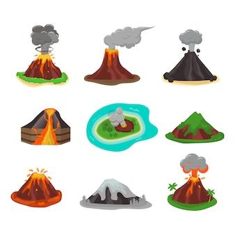 Gesetzte vektorillustration des vulkans.