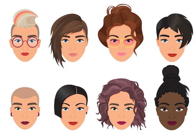 Gesetzte vektorillustration des weiblichen hauptavatars der frau. modernes multiethisches schönes porträt der jungen mädchen mit unterschiedlicher modefrisur.