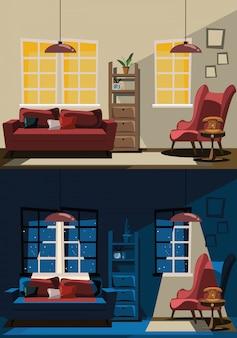 Gesetzte vektorillustration des wohnzimmerinnenraums