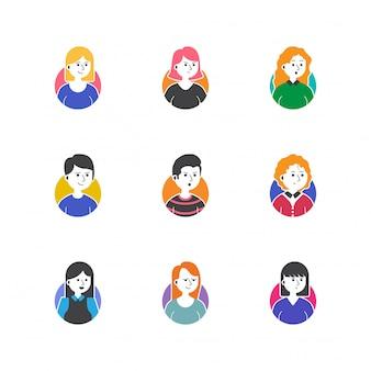 Gesetzte vektorsammlung der leuteprofilbild-ikone
